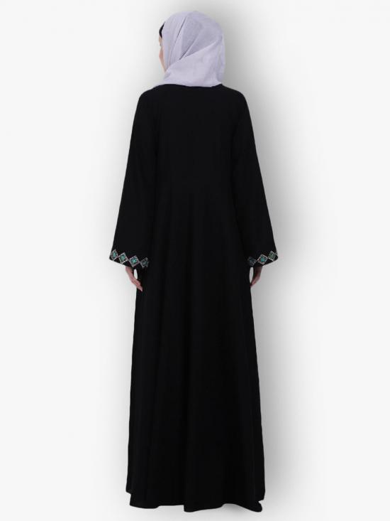 Nida Matte Umbrella Abaya Flare With Embroidery Work On Front And Sleeves In Black