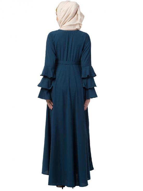 Nida Matte Abaya With Umbrella Flare And Bell Sleeves In Teal Green