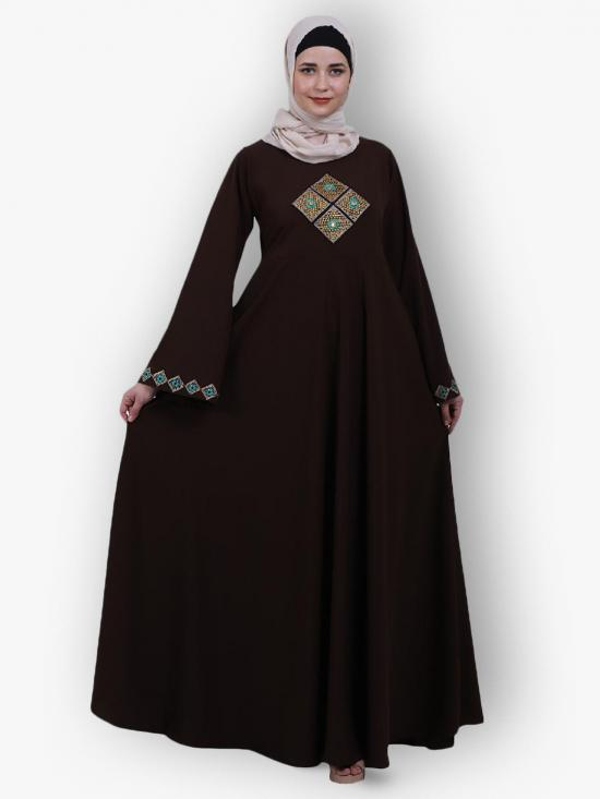 Nida Matte Umbrella Abaya Flare With Embroidery Work On Front And Sleeves In Coffee Brown