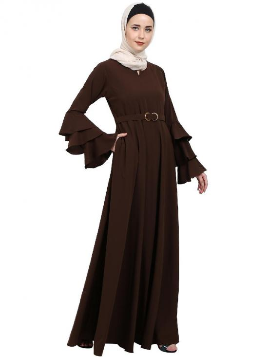 Nida Matte Abaya With Umbrella Flare And Bell Sleeves In Brown