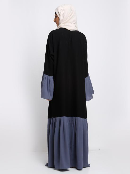 Nida Matte Simple Free Size Abaya With Pleat Work On Sleeve And Bottom In Ash And Black