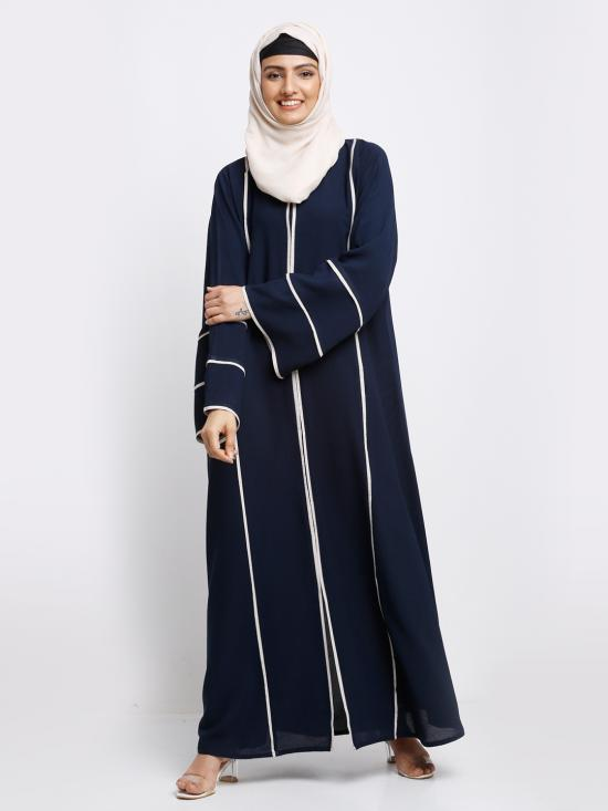 Korean Masha Crepe Simple Free Size Abaya With White Line Work On Front And Sleeve In Navy Blue