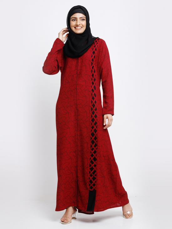 Linen Simple Free Size Front Open Printed Abaya In Maroon