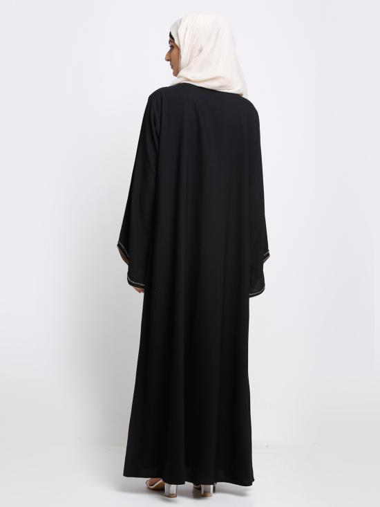 Thoshi Simple Free Size Abaya With Crystal Hand Work On Front And Sleeve In Black