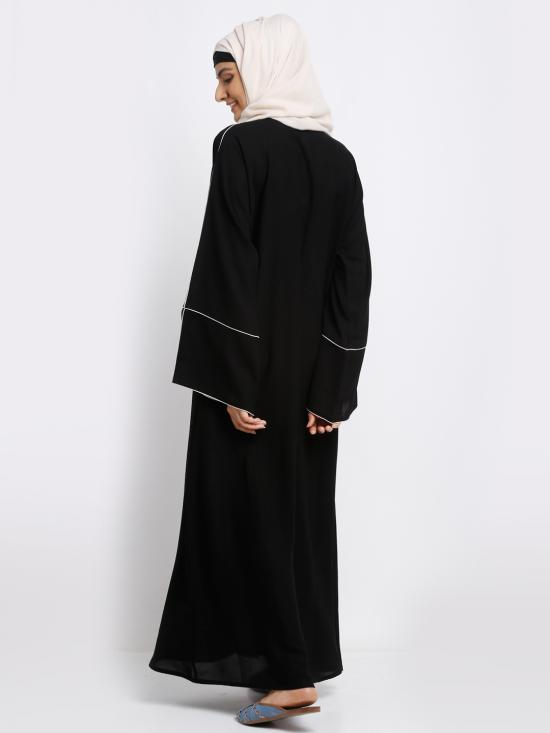Korean Masha Crepe Simple Free Size Abaya With White Piping Work On Front And Sleeve In Black
