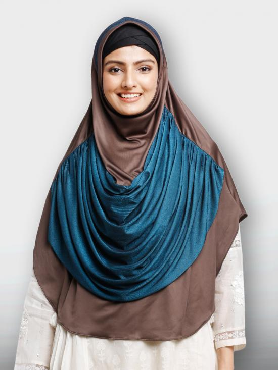 Naira Duro Lines Instant Hijabs In Coffee And Peacock