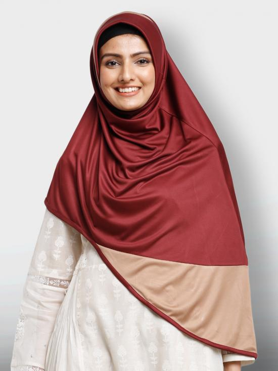 Amana Instant Hijabs In  Maroon And Dark Beige