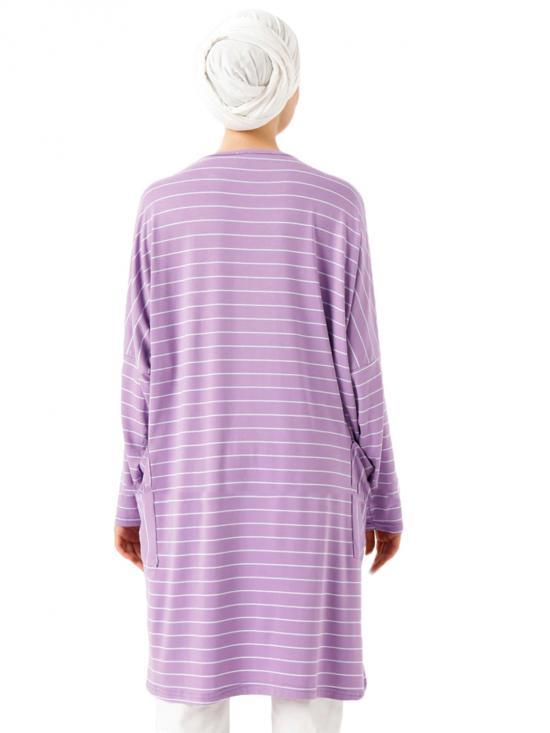 Organic Jersey Stretchable Strips Printed Short Kaftan In Light Violet
