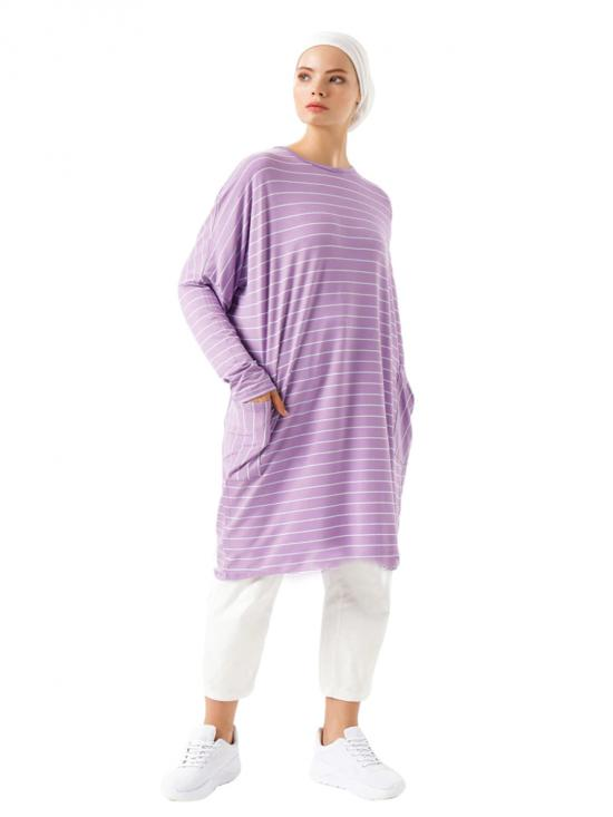 Organic Jersey Stretchable Strips Printed Short Kaftan In Light Violet