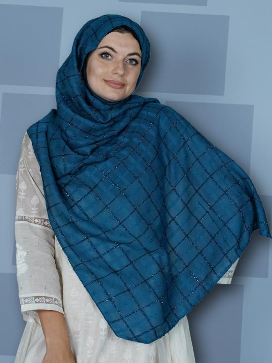 Premium Cotton Stole With Glittering Thread Work And Box Pattern In Peacock Blue