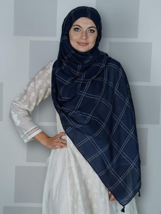 Premium Cotton Stole With Box Pattern And Tassel Work In Navy Blue