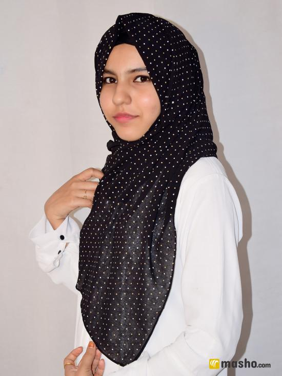Set Of Two Georgette Stole With Dot Print In Black And Ash