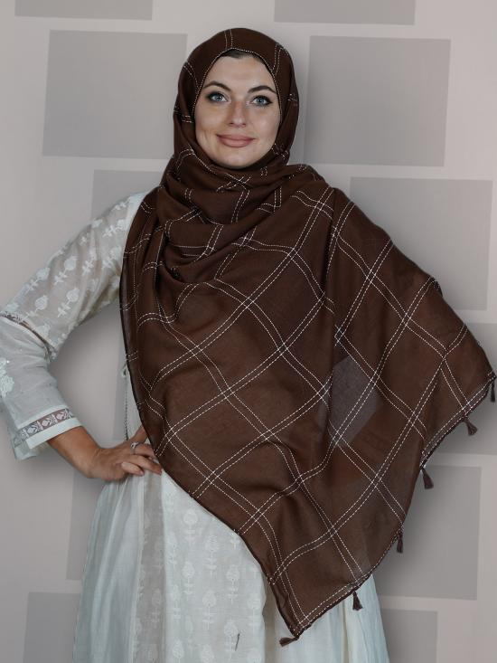 Premium Cotton Stole With Box Pattern And Tassel Work In Brown