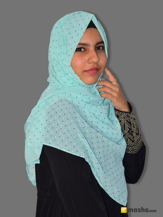 Set Of Two Georgette Stole With Dot Print In Ash And Mint