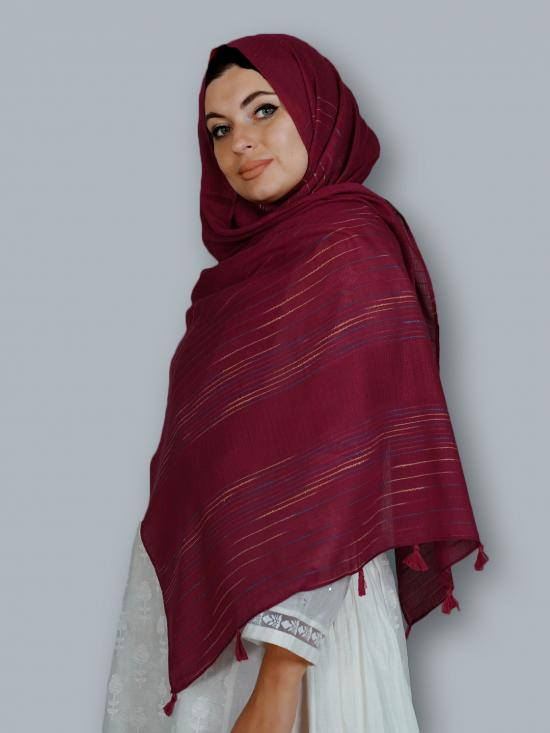 Premium Cotton Stole With Line Pattern And Tassel Work In Maroon