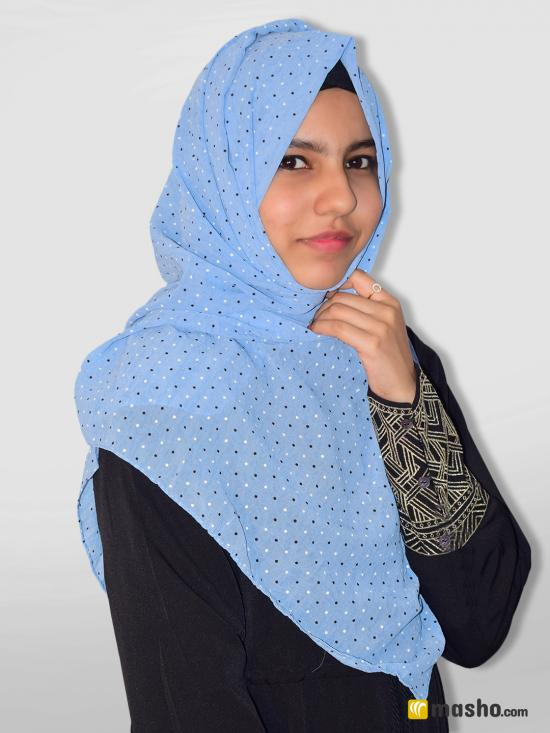 Set Of Two Georgette Stole With Dot Print In Sky Blue And Beige