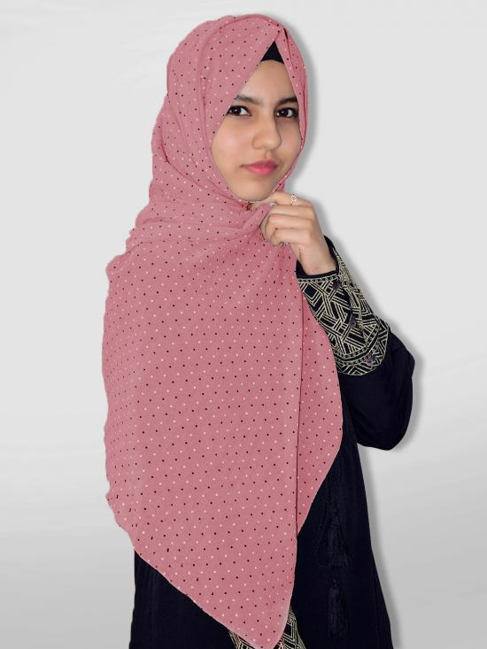 Set Of Two Georgette Stole With Dot Print In Puce Pink And Dark Grey