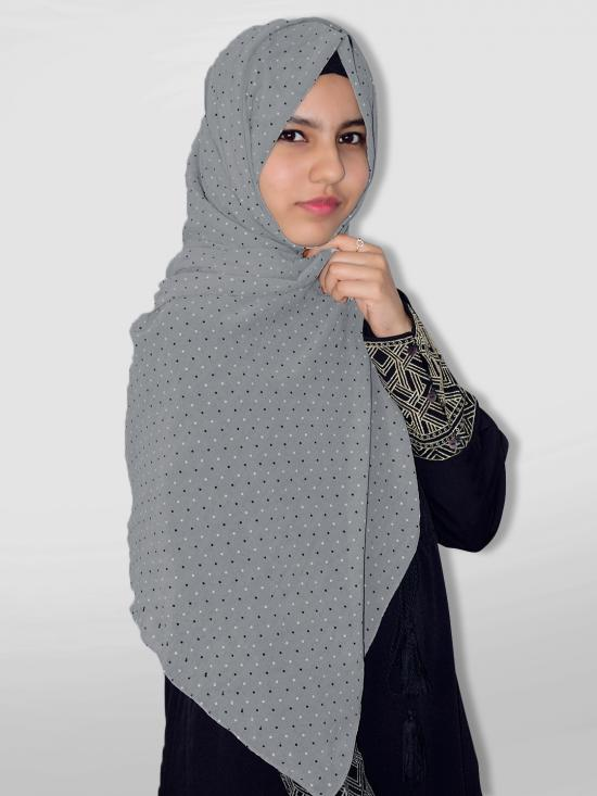 Set Of Two Georgette Stole With Dot Print In Grey And Cream