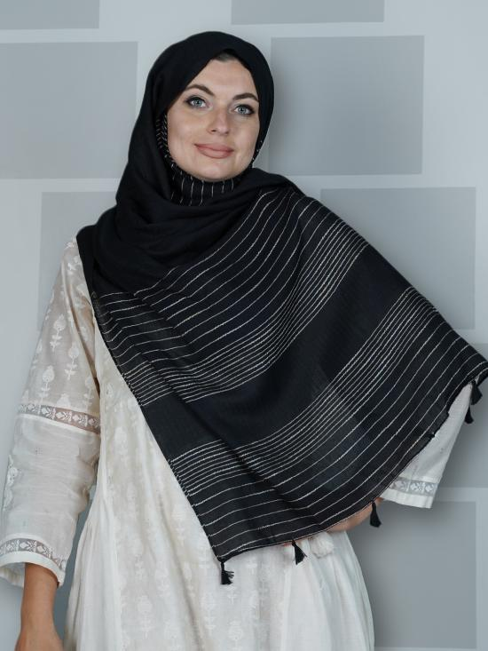 Premium Cotton Stole With Line Pattern And Tassel Work In Black