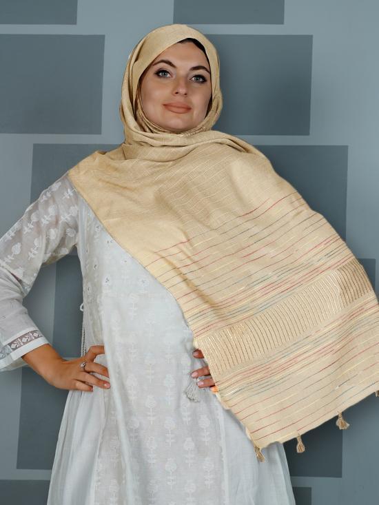 Premium Cotton Stole With Line Pattern And Tassel Work In Light Beige