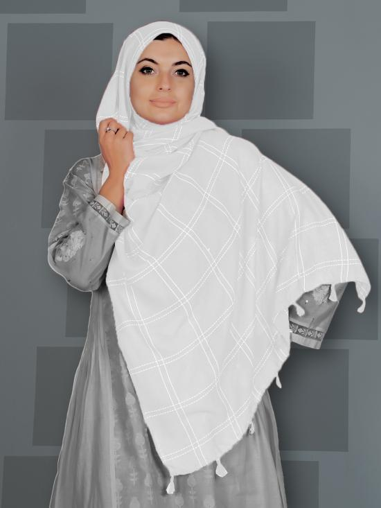 Premium Cotton Stole With Box Pattern And Tassel Work In White