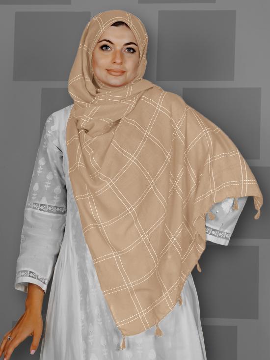 Premium Cotton Stole With Box Pattern And Tassel Work In Buff Orange