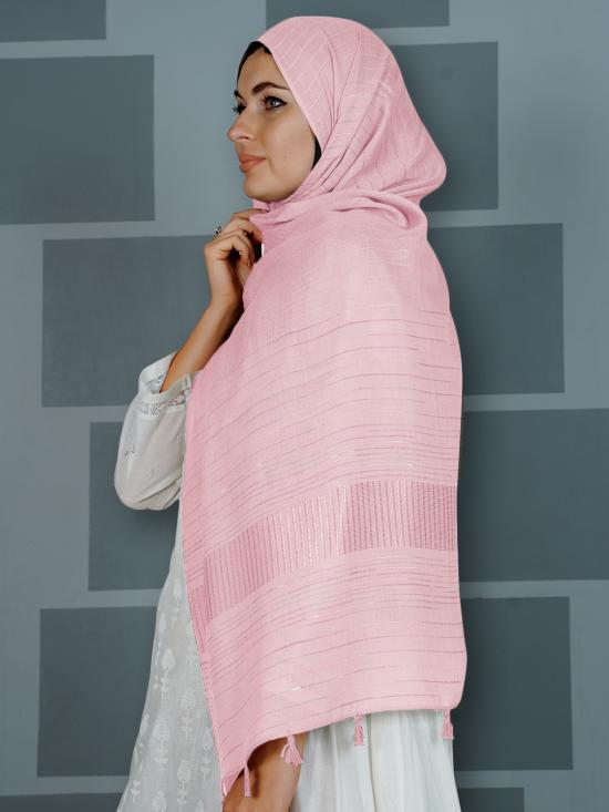 Premium Cotton Stole With Line Pattern And Tassel Work In Baby Pink