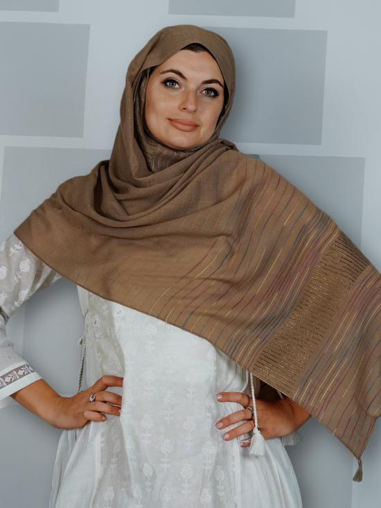 Premium Cotton Stole With Line Pattern And Tassel Work In Brown