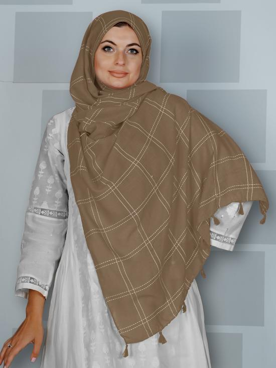 Premium Cotton Stole With Box Pattern And Tassel Work In Light Khaki