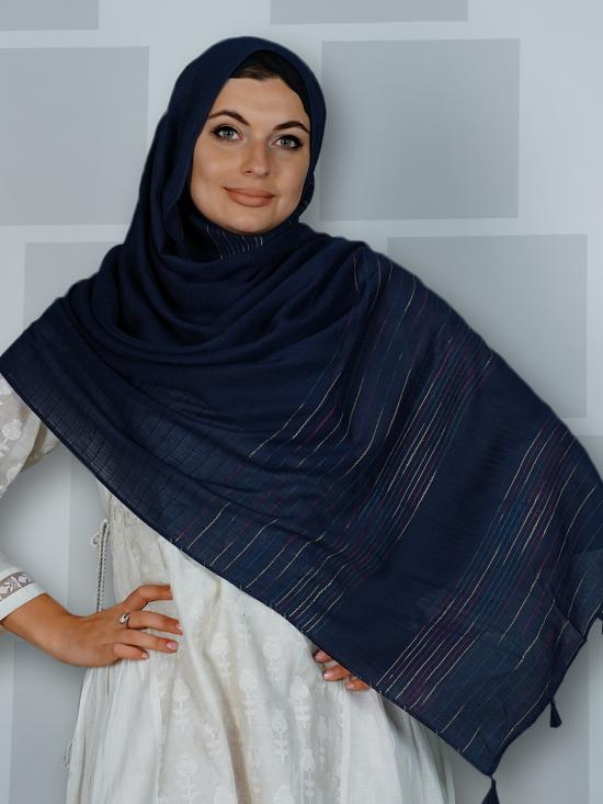 Premium Cotton Stole With Line Pattern And Tassel Work In Navy Blue