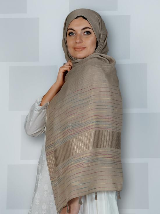 Premium Cotton Stole With Line Pattern And Tassel Work In Dim Brown
