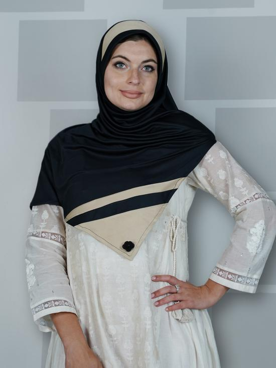 Hizza Instant Hijabs In Black And Beige