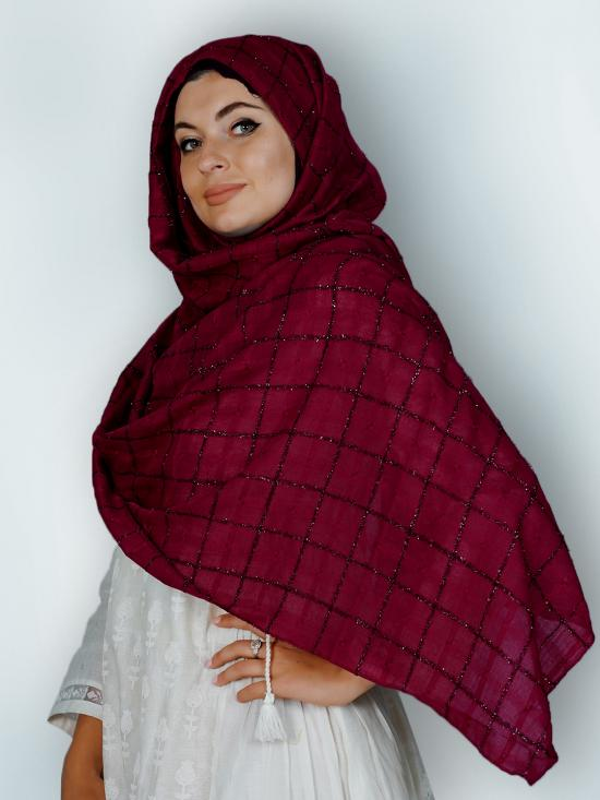 Premium Cotton Stole With Glittering Thread Work And Box Pattern In Maroon