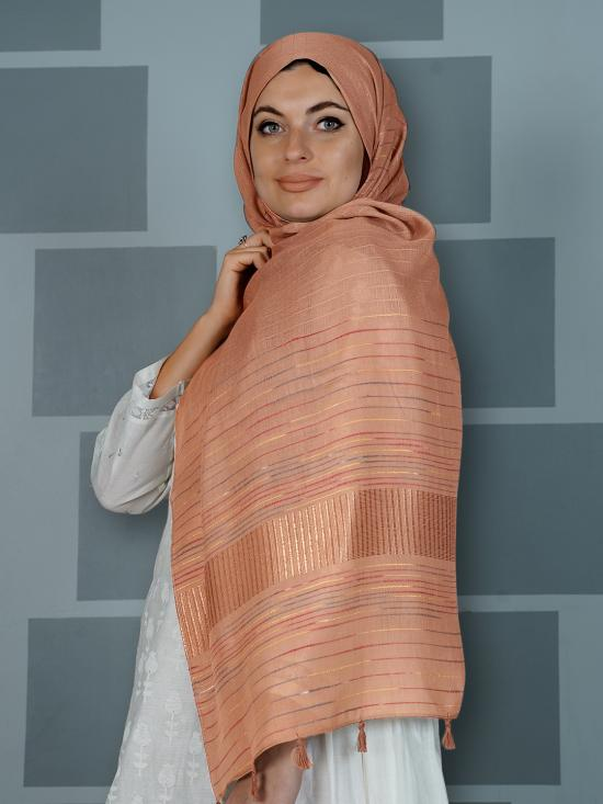 Premium Cotton Stole With Line Pattern And Tassel Work In Dusty Rose