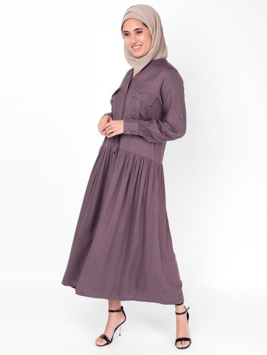 Rayon Sparrow Gathered Midi In Light Wine