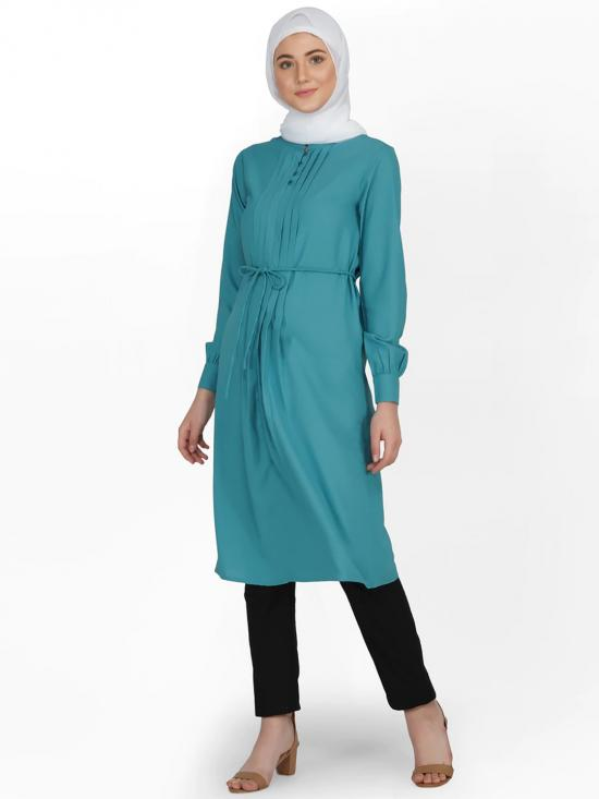 100% Polyster Midi Dress With Front Pleated In Brittany Blue