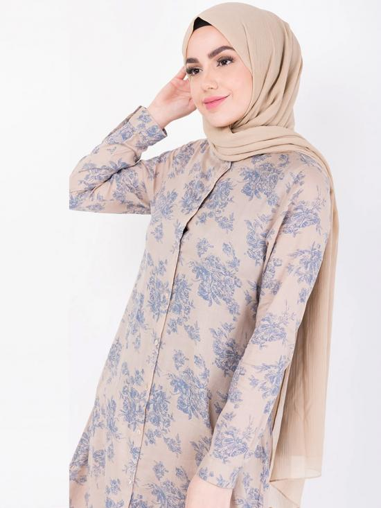 100% Rayon Shirt Dress With Floral Handkerchief Work In Beige
