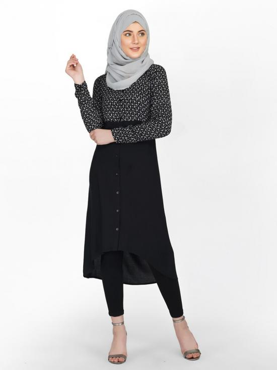 100% Rayon Shirt Dress With Paisley Work In Black