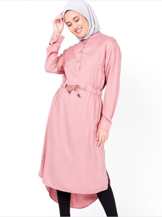 100% Rayon Neck Band Midi Dress In Rose