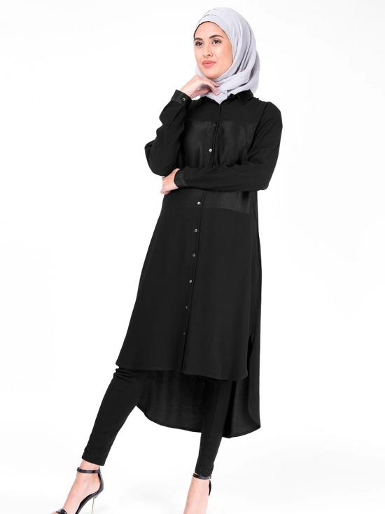 100% Polyster Sumo Satin Shirt Dress In Black
