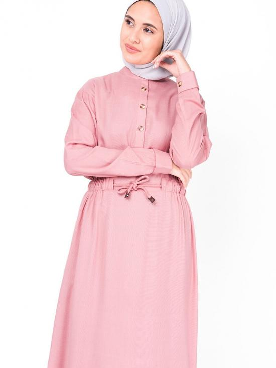 100% Rayon Midi Dress With Neck Band In Rose Tan