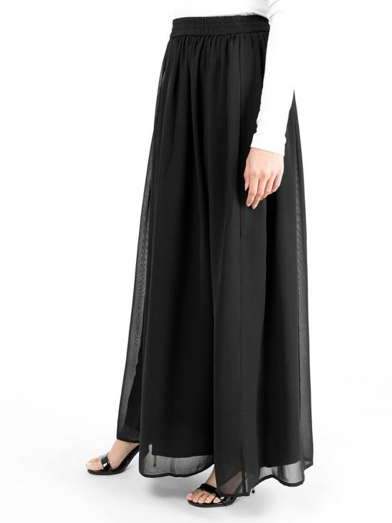 100% Polyster Flared Lined Skirt In Black