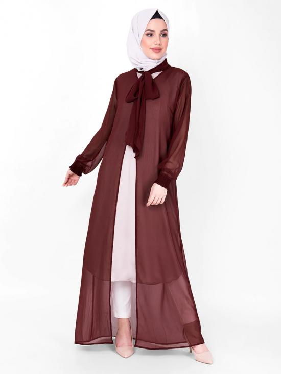100% Georgette Gathered Neck Sheer Outerwear In Maroon