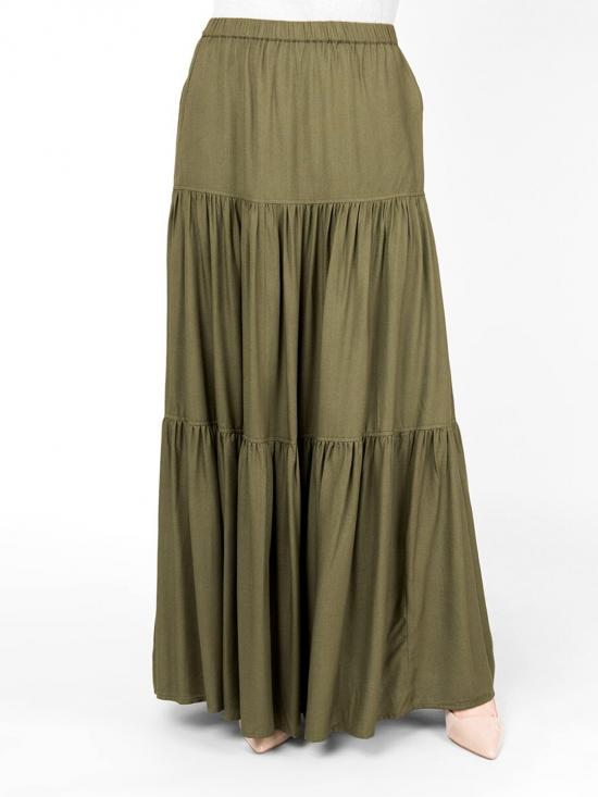 100% Rayon Boho Gypsy Full Length Skirt Martini Olive