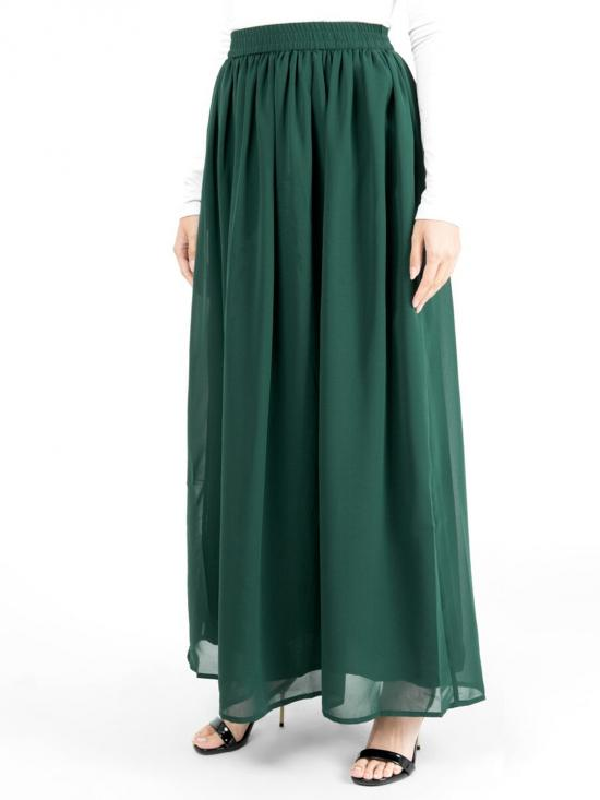 100% Polyster Flared Lined Skirt In Green