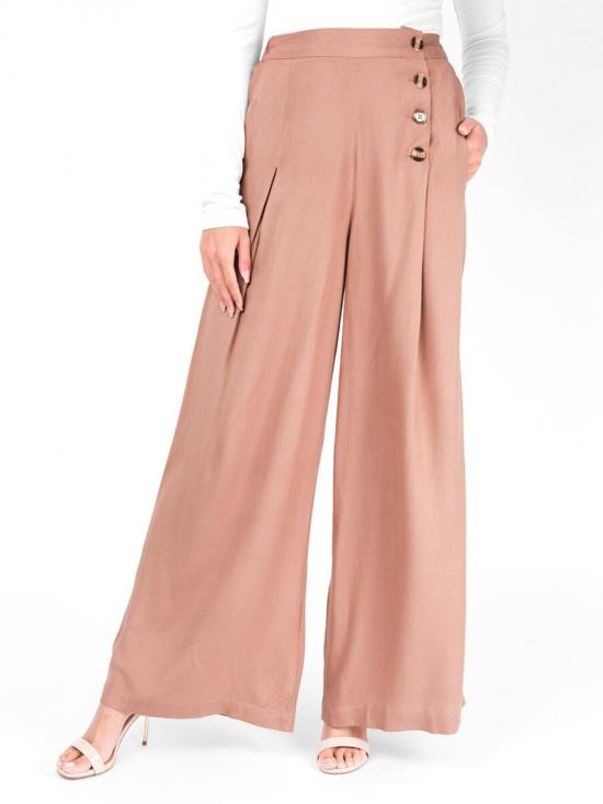 Rayon Trouser With Knife Pleat In Tawny Birch