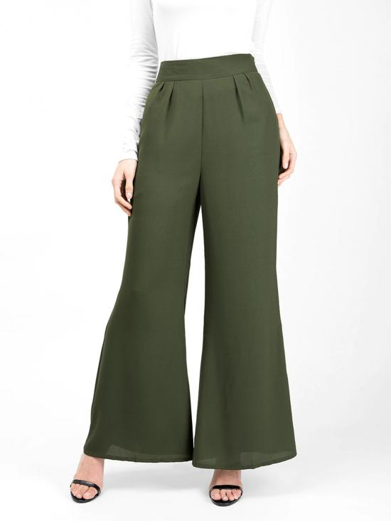 100% Polyster Flared Palazzo Trouser In Cypress