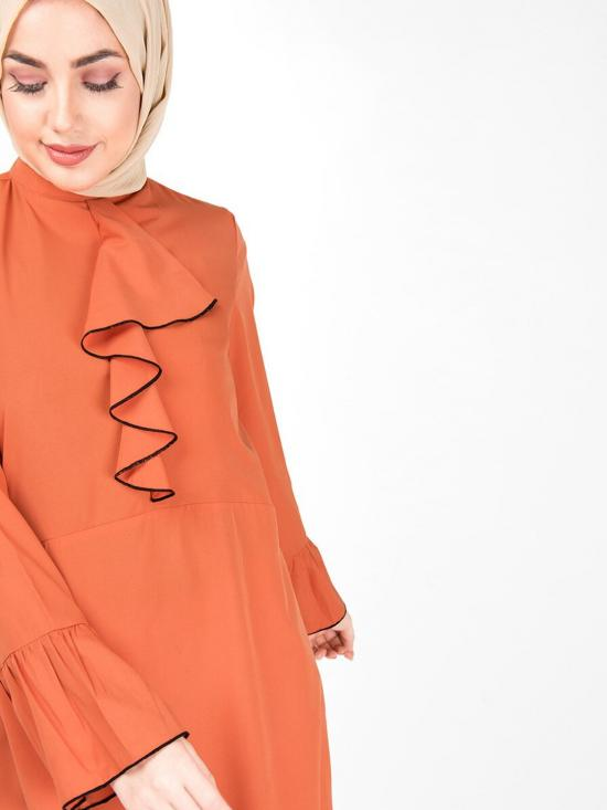 100% Polyester Arabesque Ruffled Midi Dress In Orange