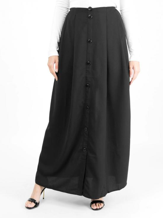 100% Polyster Mock Button Skirt In Black