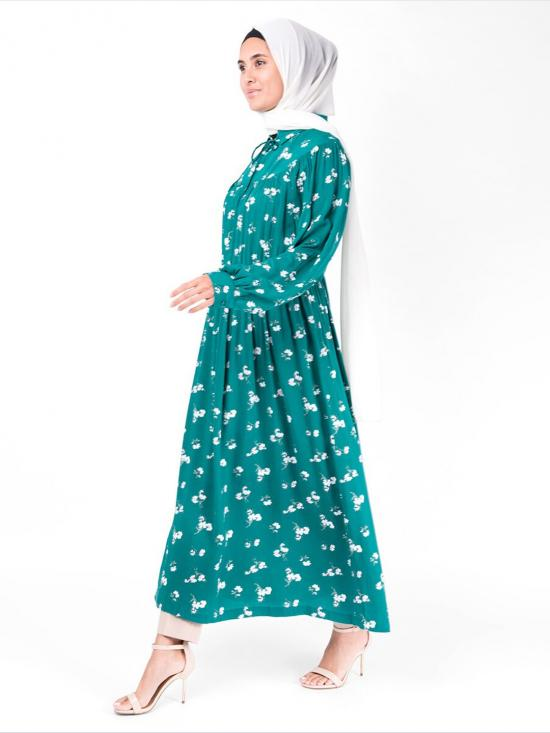 Rayon Midi Dress With Gathered Waist In Teal